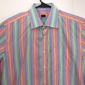 Paul Smith Mens Rainbow Bright Shirt 17.5 / 44
